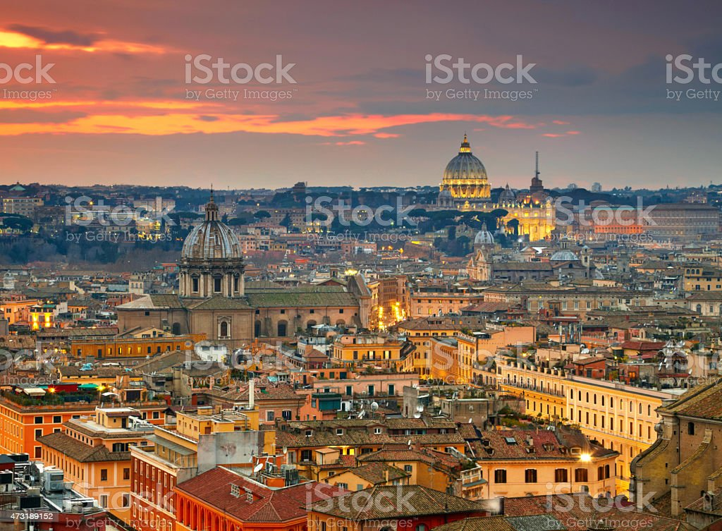 Rome at sunset time stock photo
