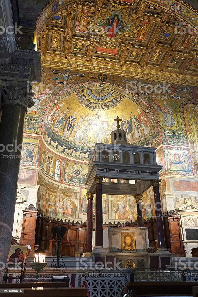 Roma - Basilica Santa Maria in Trastevere stock photo