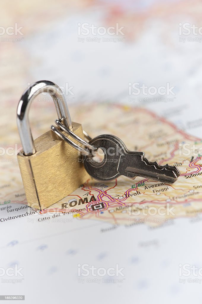Rome city destination with padlock stock photo