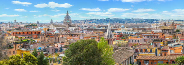 Rome city view from the Pincio Terrace stock photo