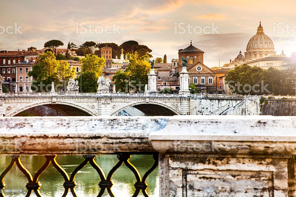 Rome cityscape at dusk on Tiber River stock photo