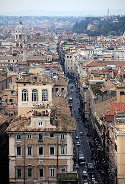 Rome, cityscape over via del Corso stock photo
