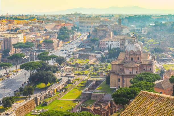 Rome cityscape with the Colosseum in the background stock photo