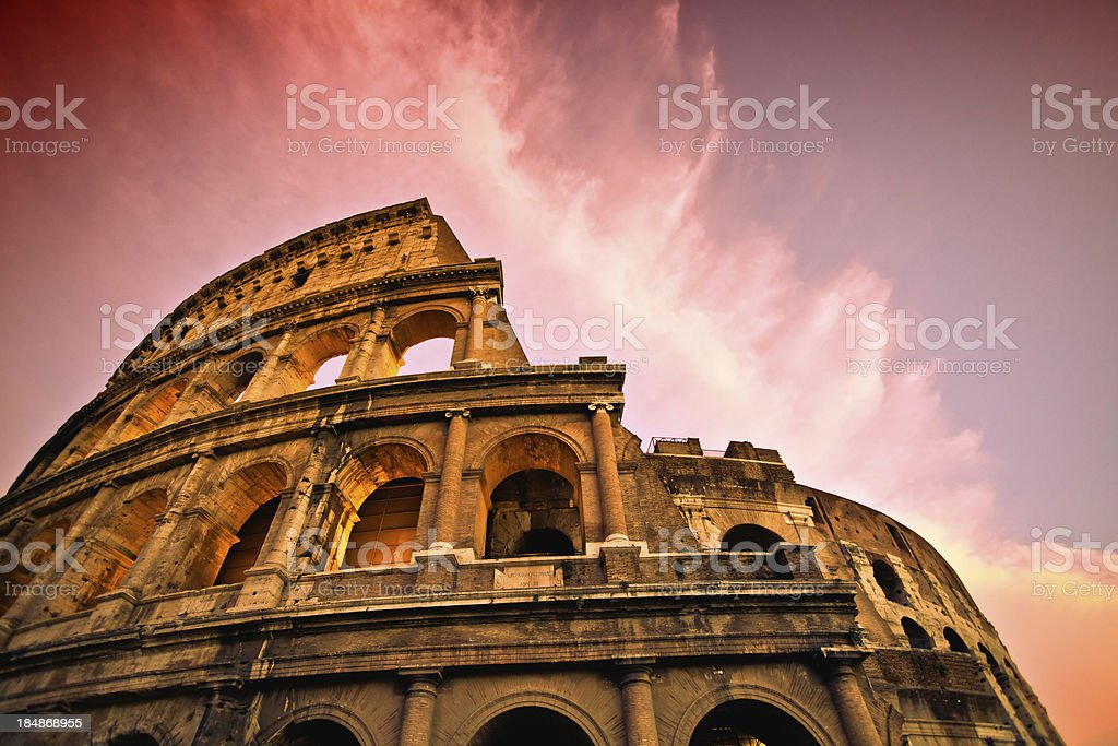 Rome Coliseum at Sunset stock photo