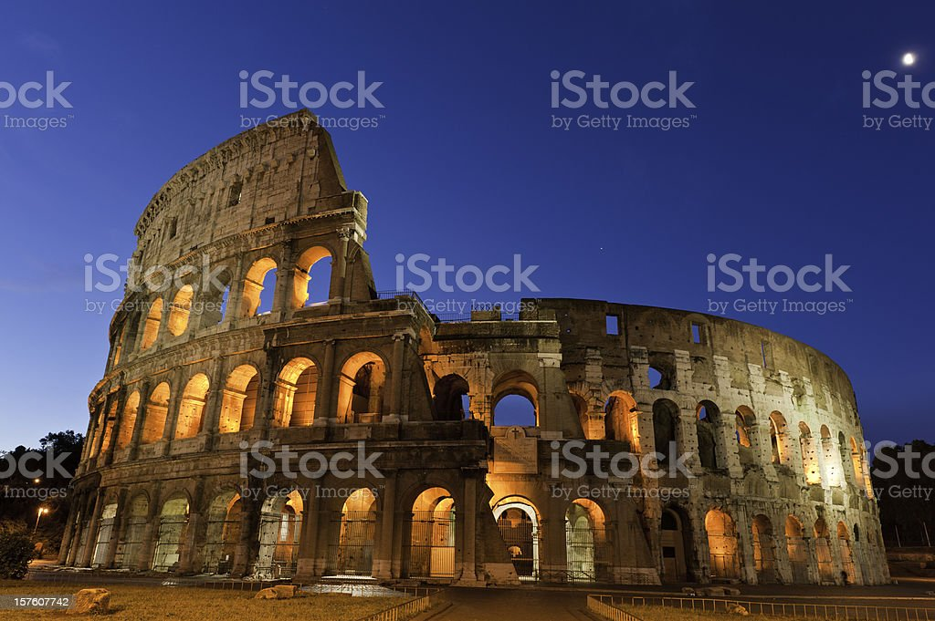 Rome Colosseo spotlit landmark stars moon Roman ampitheatre coliseum Italy stock photo