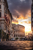 Rome Colosseum in a beautiful light at sunset, Italy.