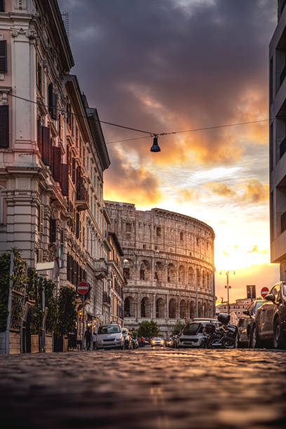 Rome Colosseum in a beautiful light at sunset Rome Colosseum in a beautiful light at sunset, Italy. rome italy stock pictures, royalty-free photos & images