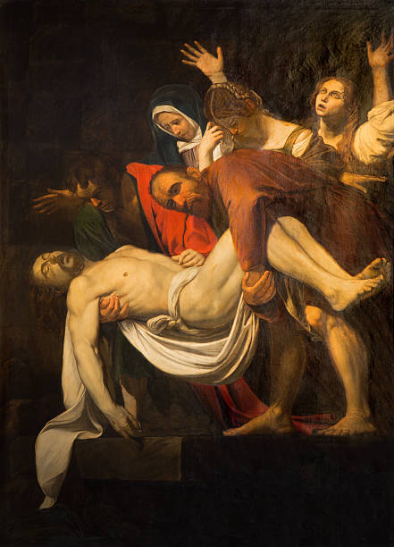 rome - deposition of the cross originaly by caravaggio - deposition stock pictures, royalty-free photos & images