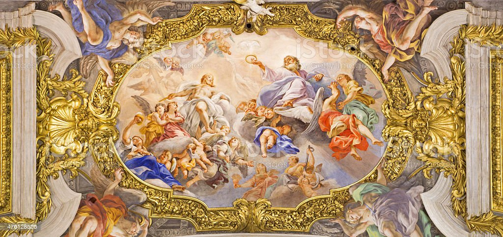 Rome - detail from ceiling in Chiesa del Jesu stock photo