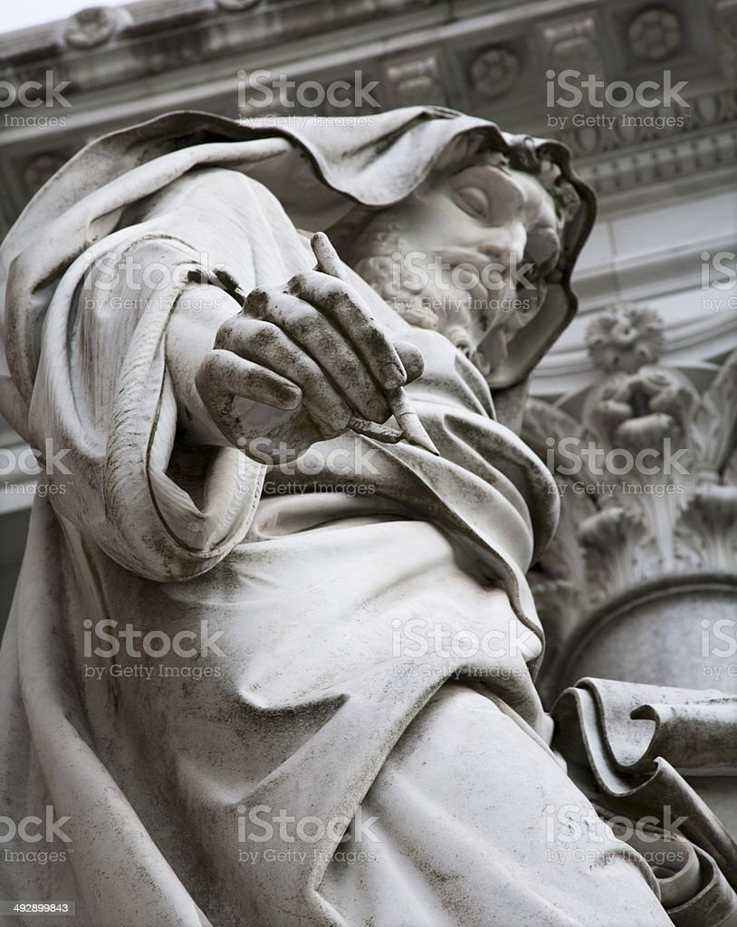 Rome - detail of st. John the Evangelist statue stock photo