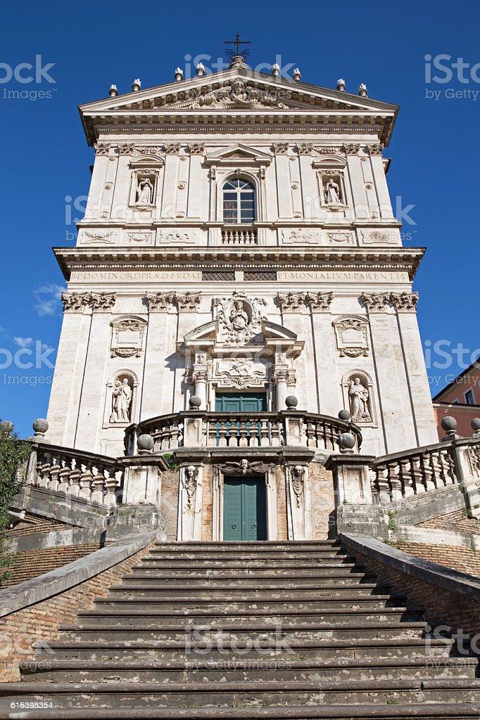 Rome - Facade of Chiesa di Santi Domenico e Sisto. stock photo