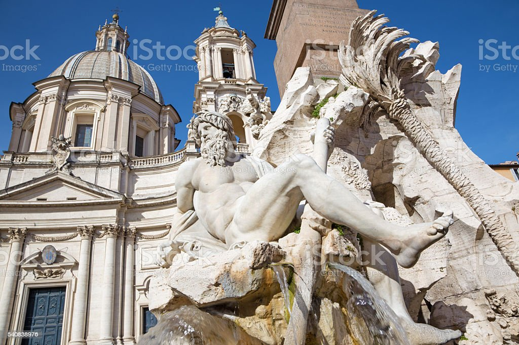 Rome - Fontana dei Fiumi by Bernini on Piazza Navona - foto de acervo