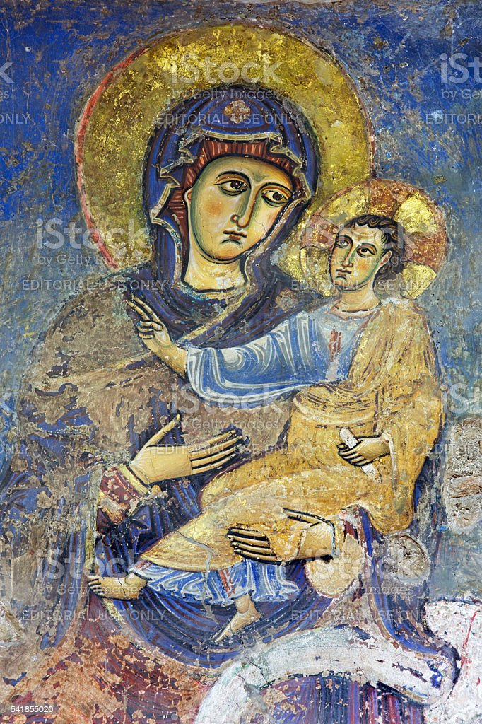 Rome - Fresco of Madonna from 2. cent. stock photo