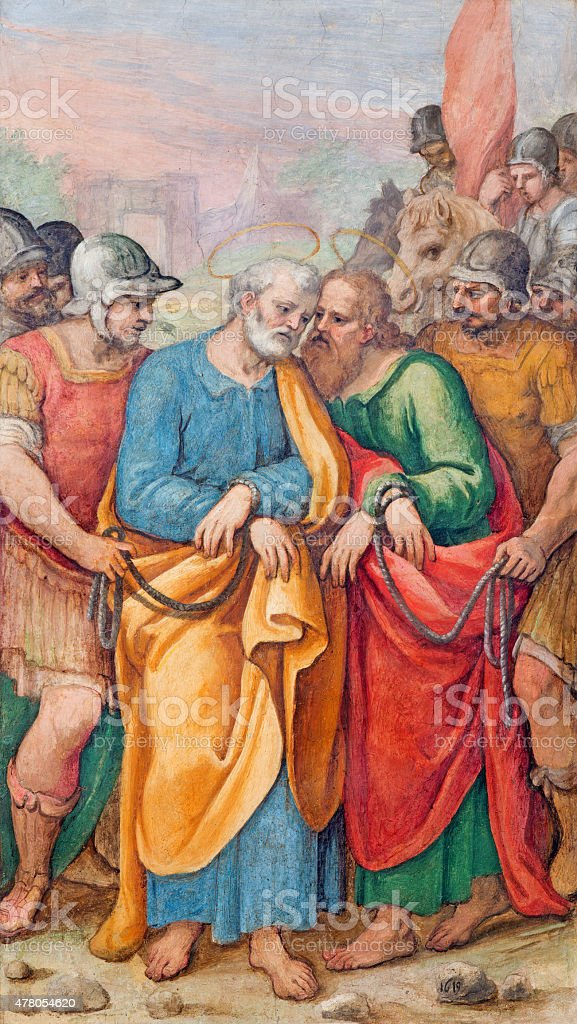 Rome -  fresco of st. Peter and Paul in bond stock photo