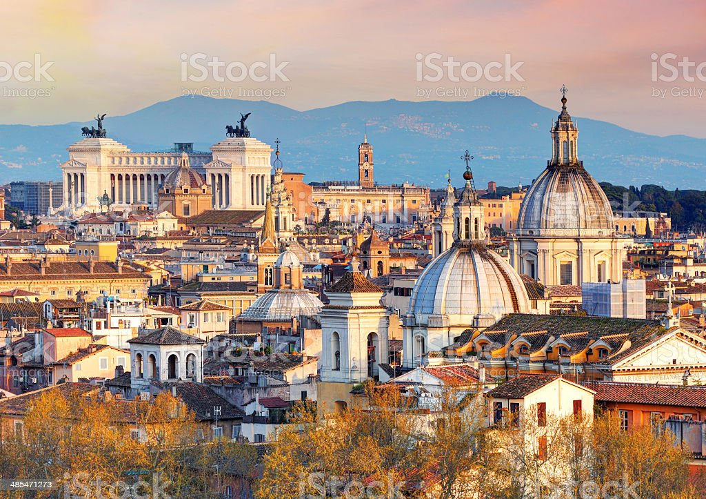Rome from Castel Sant'Angelo, Italy. stock photo