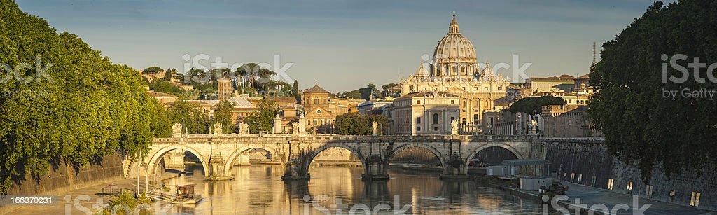 Rome golden dawn over River Tiber Vatican City panorama Italy stock photo