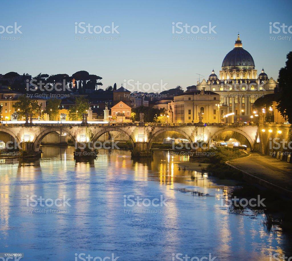 Rome golden sunset St Peter's Basilica Vatican City royalty-free stock photo