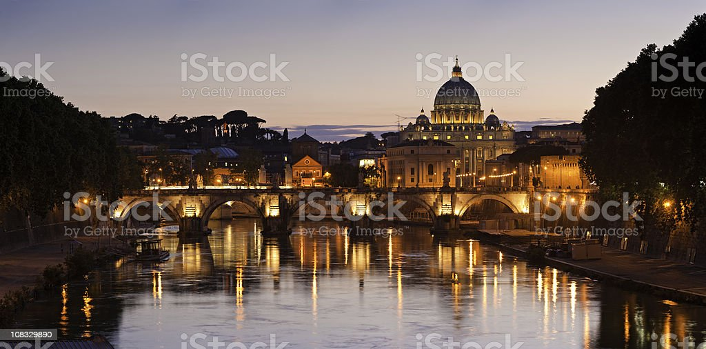 Rome golden sunset St Peter's Basilica Vatican City Tiber Italy stock photo