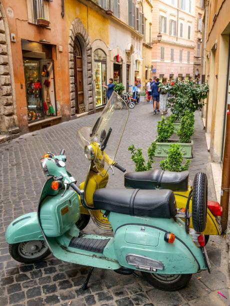 Rome - Historic Center - Piazza Navona - Vespa - HD - Motorcycle stock photo