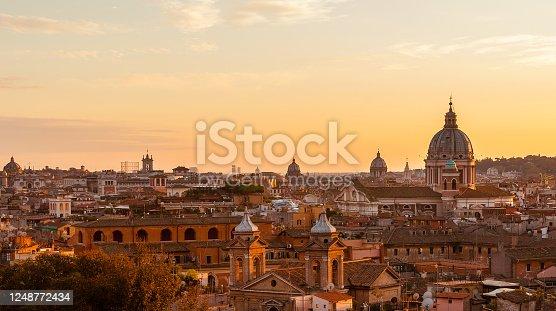 istock Rome historic center sunset skyline 1248772434