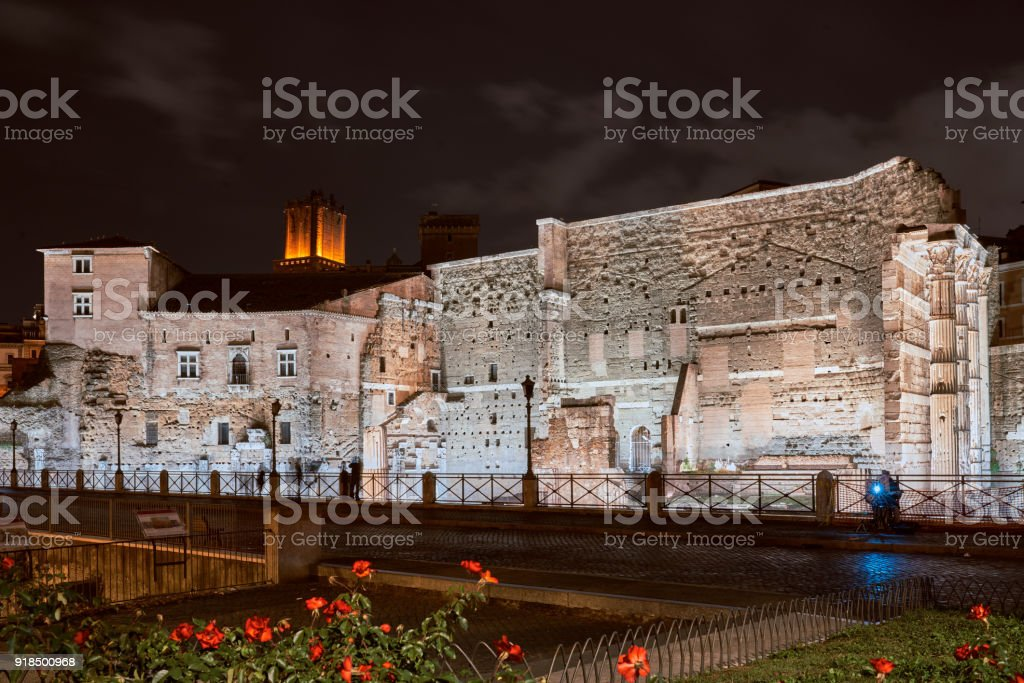 Rome imperial holes at night stock photo