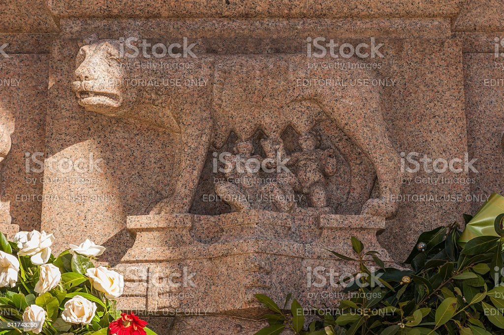 Rome. Independence War Memorial on the Janiculum hill (detail) stock photo