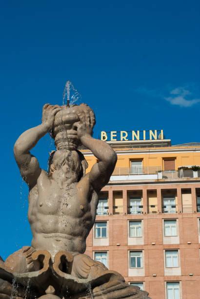 Rome, Italy - 09-10-2019: The Triton Fountain in the Piazza Barberini, by Gian Lorenzo Bernini - foto stock
