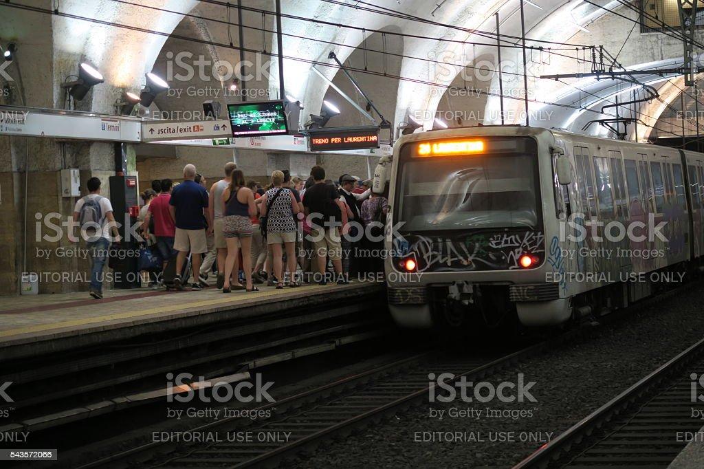 Rome Italy 17 June 2016  boarding metro Termini station stock photo
