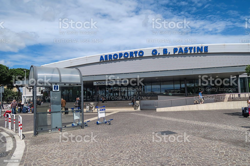 Rome Italy 17 June 2016. Ciampino airport entrance with tourists. stock photo