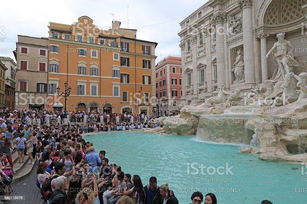 Rome, Italy 17 June 2016. Tourists renovated Fontana di Trevi. stock photo