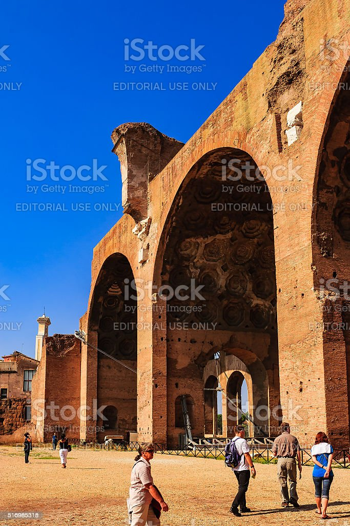 Rome, Italy - Basilica of Maxentius and Constantine stock photo
