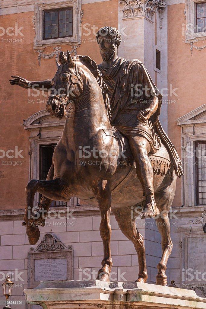 Rome, Italy - Bronze equestrian statue of Emperor Marcus Aurelius stock photo