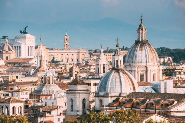 Rome, Italy. Cityscape With Such Famous Churches As Sant'agnese, Santa Maria Della Pace, St. Salvatore At The Laurels stock photo