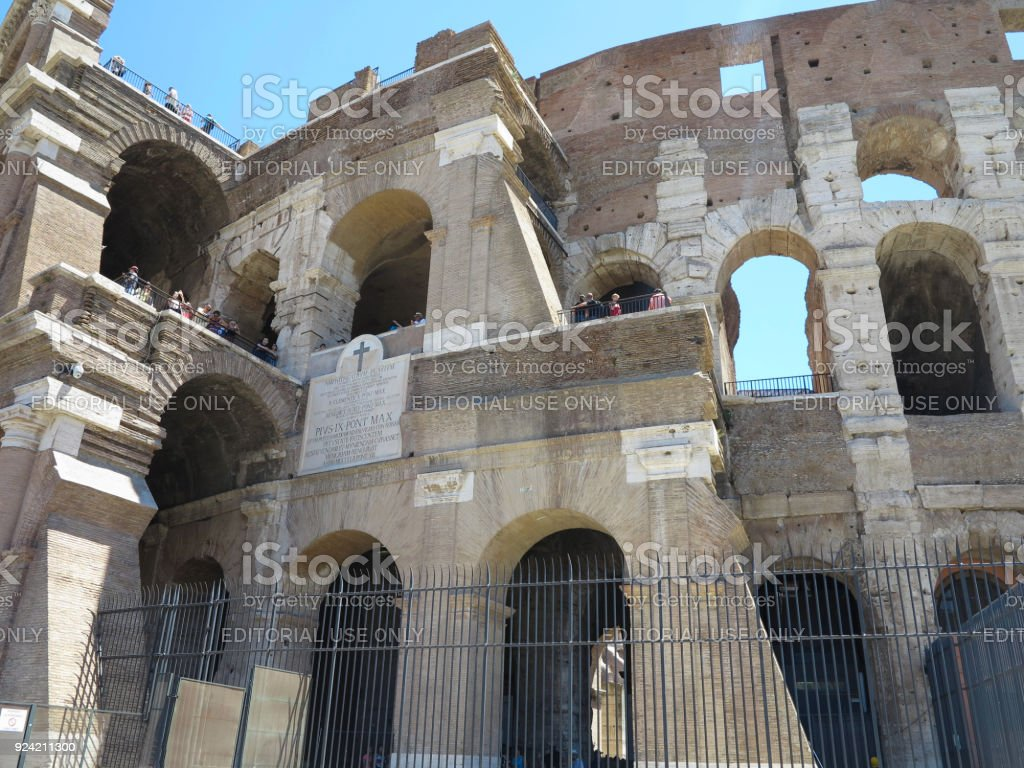 19.06.2017, Rome, Italy: crowds of tourists admire the Great Roman Colosseum ( Coliseum, Colosseo , Flavian Amphitheatre ) stock photo