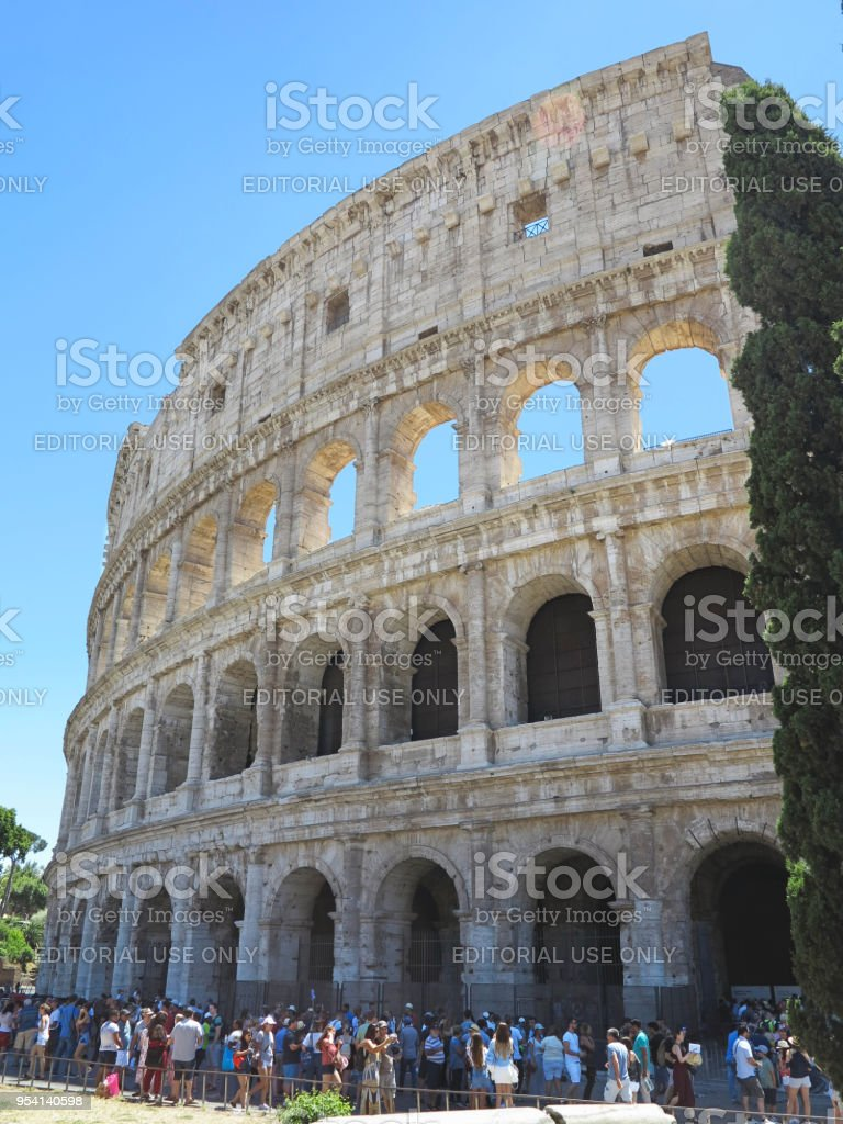 19.06.2017, Rome, Italy: crowds of tourists admire the Great Roman Colosseum ( Coliseum, Colosseo , Flavian Amphitheatre ) stock photo