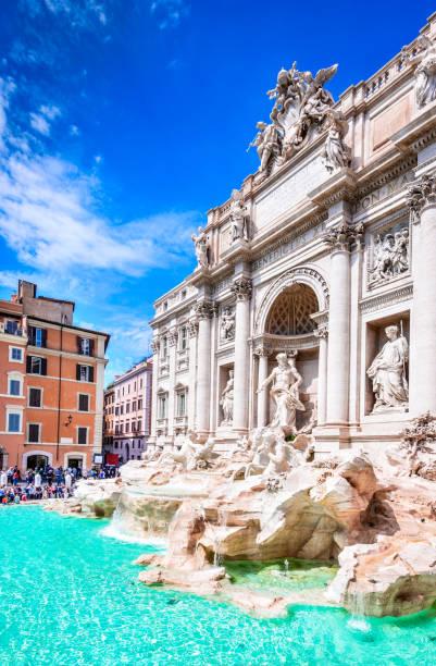 Rome, Italy - Fontana di Trevi Rome, Italy. Famous Trevi Fountain and Palazzo Poli (Italian: Fontana di Trevi) in italian city of Roma. rome stock pictures, royalty-free photos & images