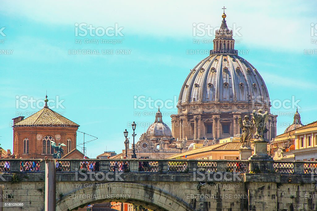 Rome, Italy - May 07, 2015 - Ponte Sant'Angelo stock photo