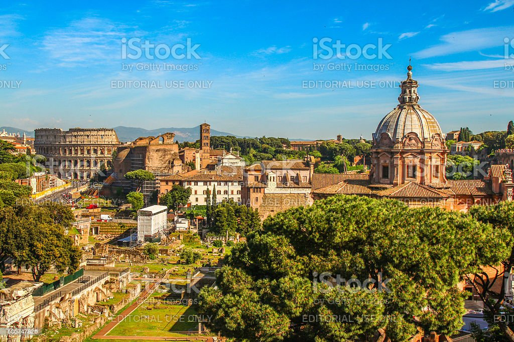 Rome, Italy - May 07, 2015 - Roman Forum in Rome city stock photo