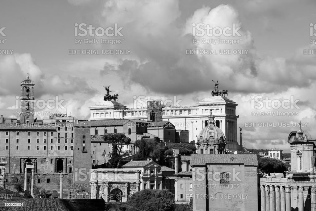 Rome, Italy - October 07, 2016; Forum Romanum - black and white stock photo