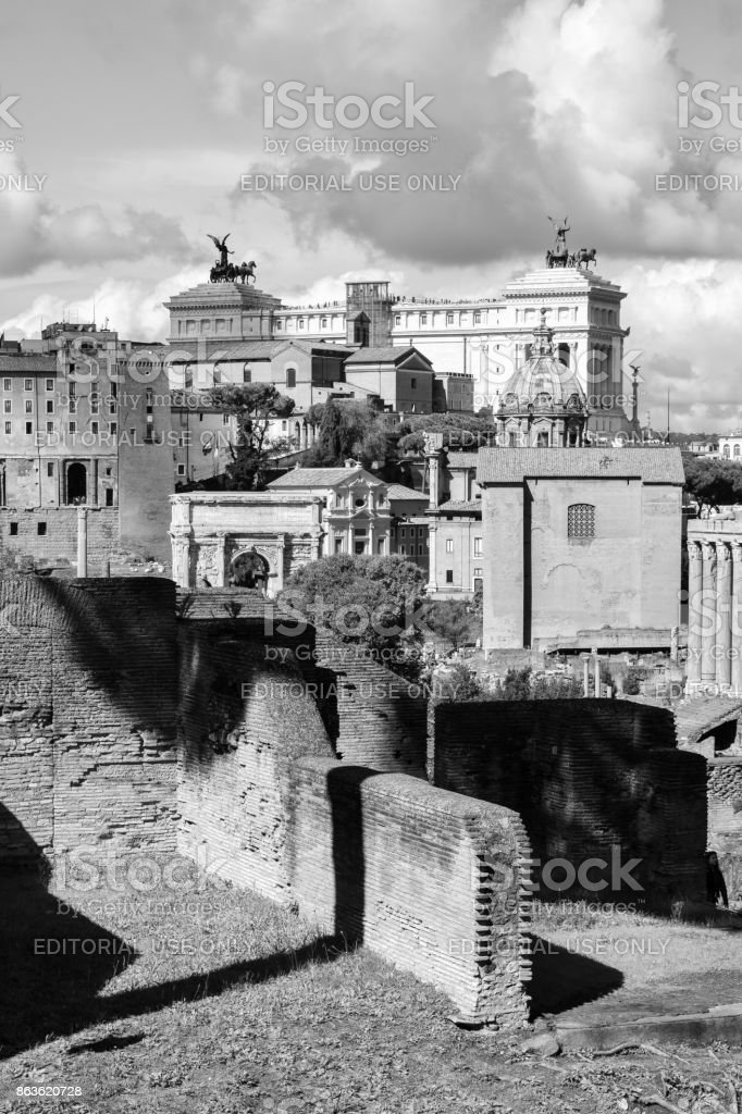 Rome, Italy - October 07, 2016; Roman Forum - black and white stock photo
