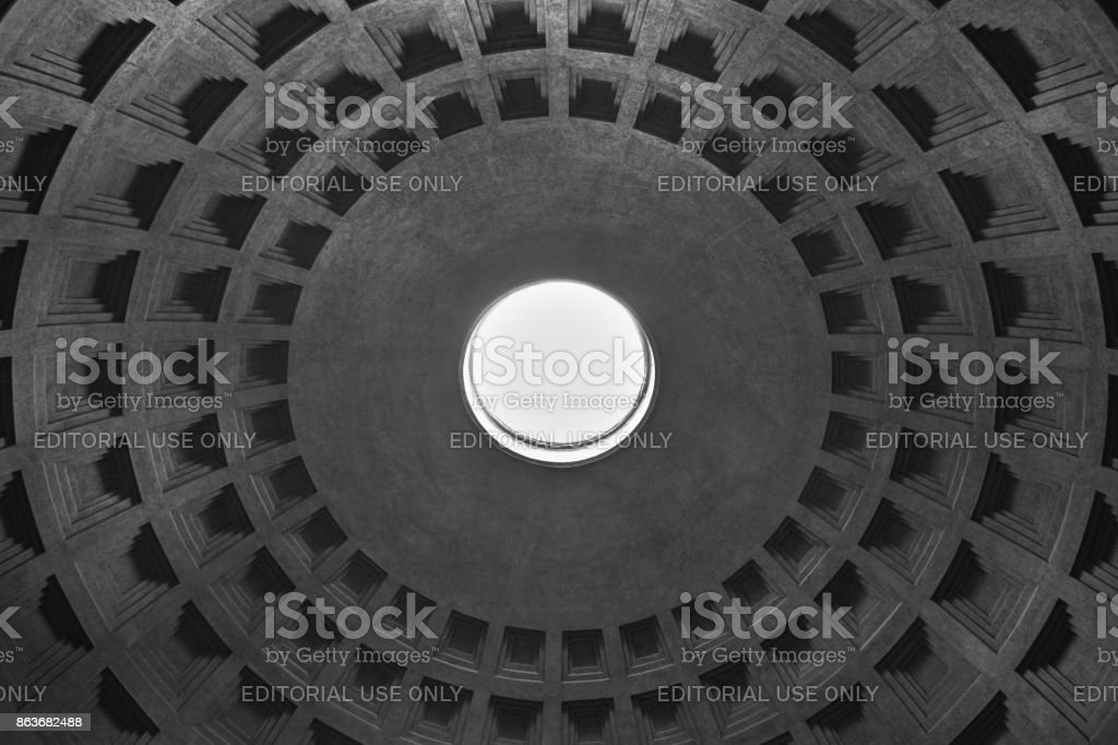 Rome, Italy - October 08, 2016; Dome of Pantheon in black and white stock photo