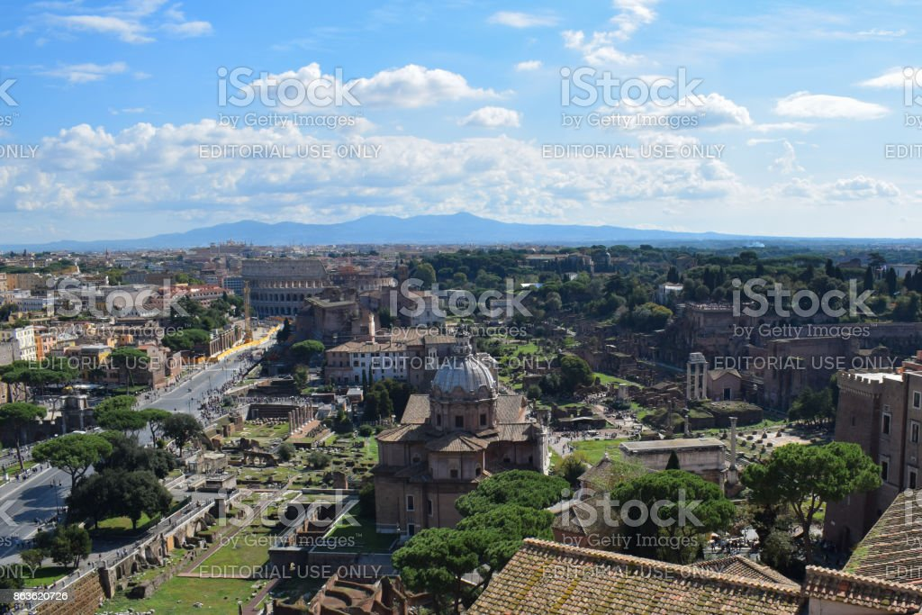 Rome, Italy - October 08, 2016; Forum Romanum from a height stock photo