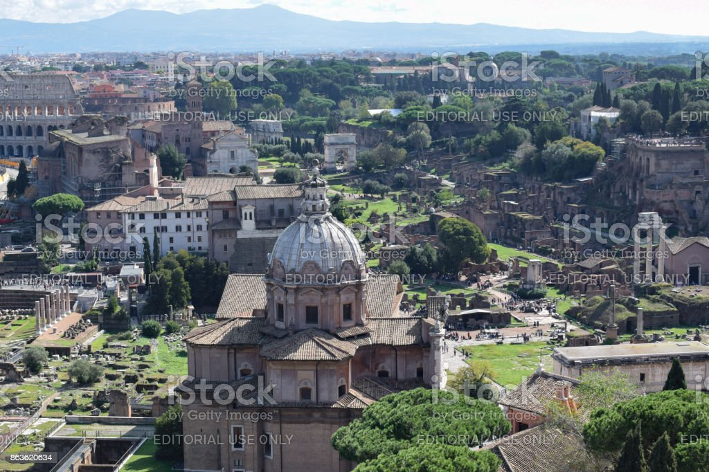 Rome, Italy - October 08, 2016; Forum Romanum stock photo