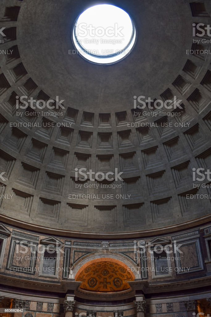 Rome, Italy - October 08, 2016; Pantheon - building interior stock photo