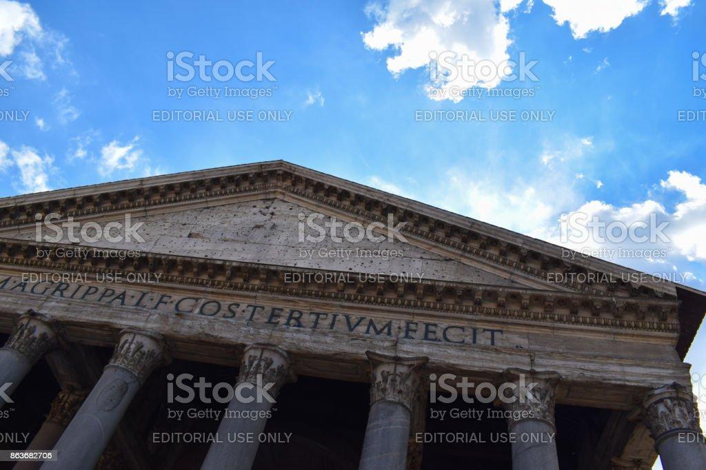 Rome, Italy - October 08, 2016; Pantheon facade stock photo