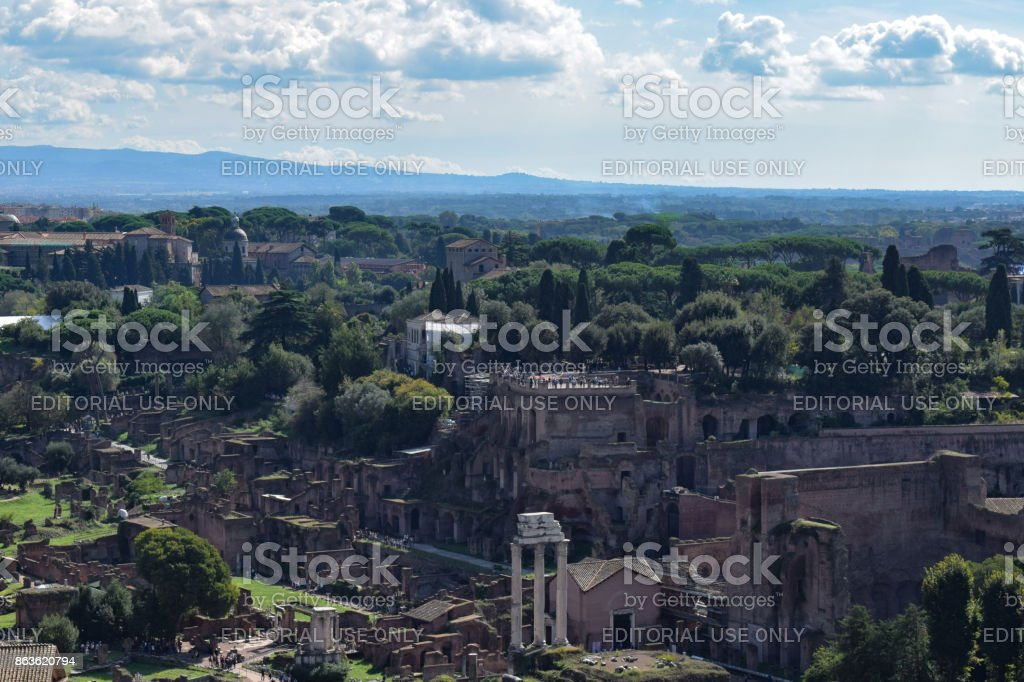 Rome, Italy - October 08, 2016; Roman Forum and Basilica Julia stock photo