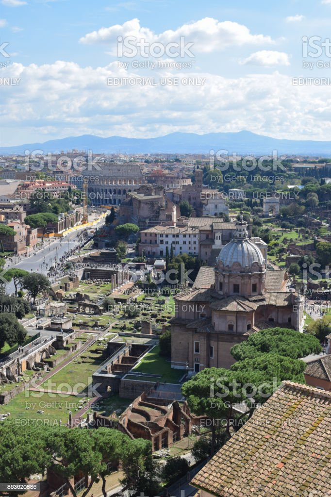 Rome, Italy - October 08, 2016; Roman Forum and Colosseum stock photo