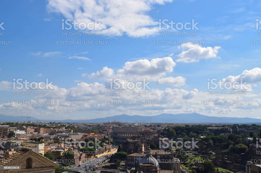 Rome, Italy - October 08, 2016; Rome from birds eye view stock photo