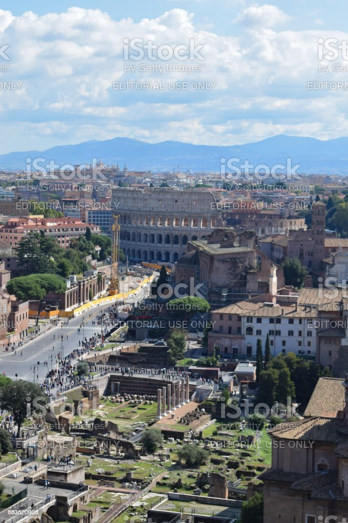 Rome, Italy - October 08, 2016; The Roman Forum and Colosseum stock photo