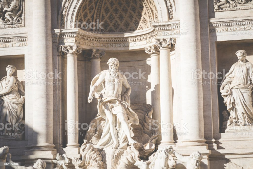 Rome, Italy. One of the most famous landmarks - Trevi Fountain (Fontana di Trevi). stock photo